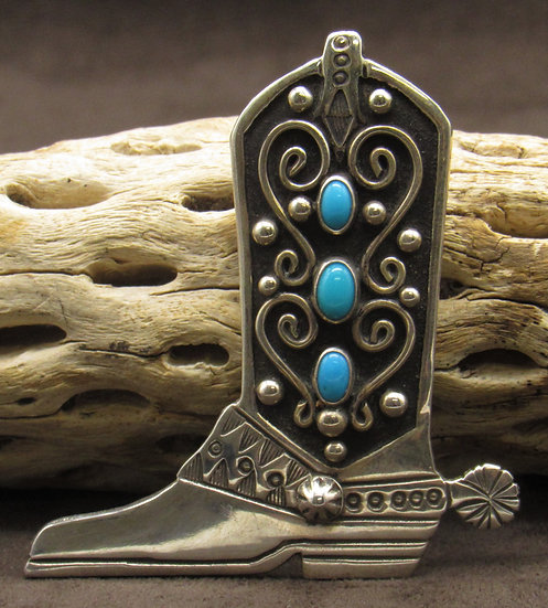Sterling Silver Turquoise Cowboy Boot Pin and Pendant