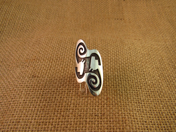 Hopi Sterling Silver Overlay Ring Size 8
