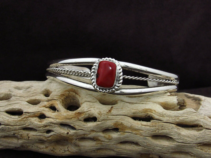 Simple Sterling Silver Coral Cuff Bracelet