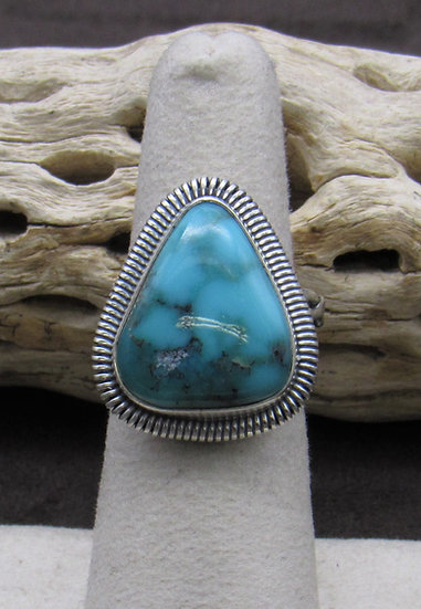Beautiful Navajo Made Turquoise and Sterling Silver Triangle Ring Size 6 3/4