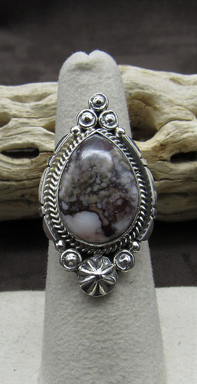 Navajo Made Wild Horse Magnesite and Sterling Silver Ring Size 6 1/2