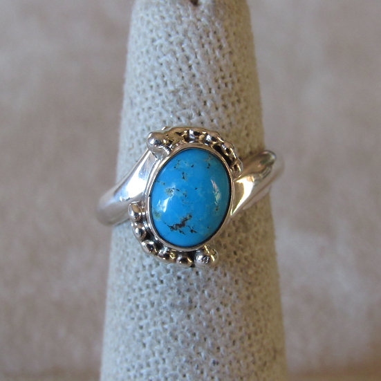 Sterling silver and turquoise ladies ring Size 5.75