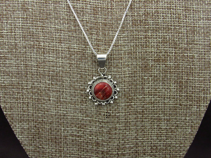 Sterling Silver Red Spiny Oyster Necklace