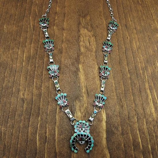 Vintage Multi Stone Inlay Sunface Necklace