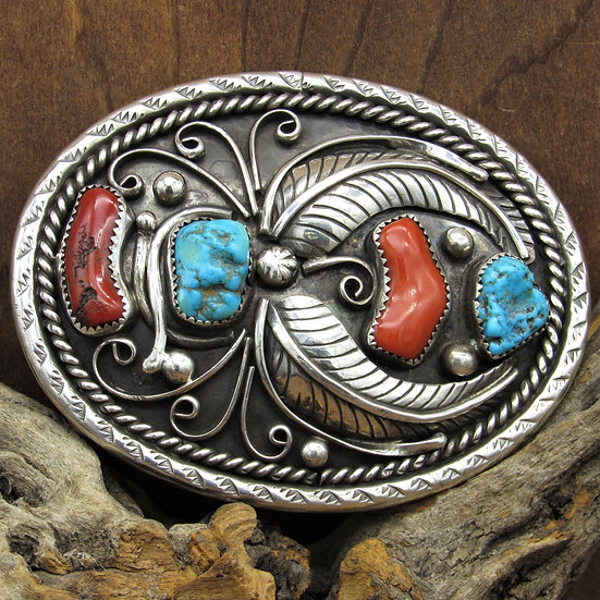 Vintage Navajo Sterling Silver Turquoise Coral Belt Buckle by Archie Martinez