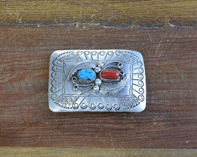 Navajo Sterling Silver Turquoise and Coral Belt Buckle by R. Peter