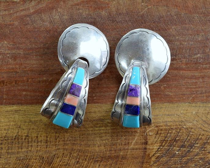 Vintage Navajo Multi-Stone Sterling Silver Inlay Hoop Earrings