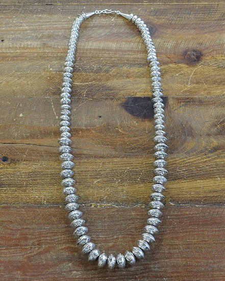 Vintage Sterling Silver Stamped Disc Bead Necklace