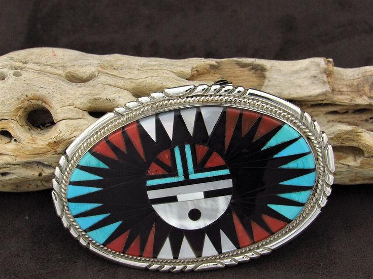 Zuni Sunface Multi-Color Inlay Belt Buckle
