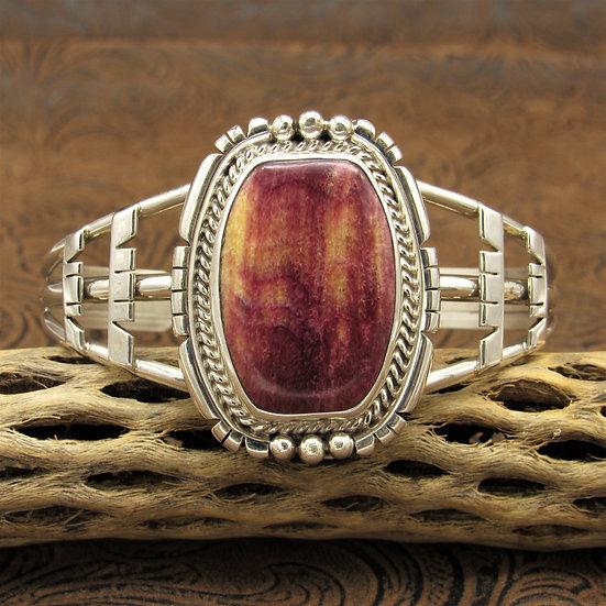 Bold Southwestern Sterling Silver Purple Spiny Oyster Cuff Bracelet