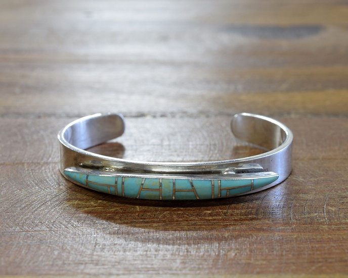 Navajo Sterling Silver Inlay Turquoise Cuff Bracelet