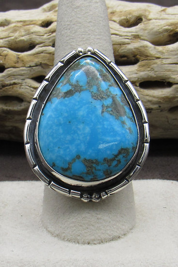 Stunning Large Teardrop Turquoise and Sterling Silver Ring Size 9 1/2
