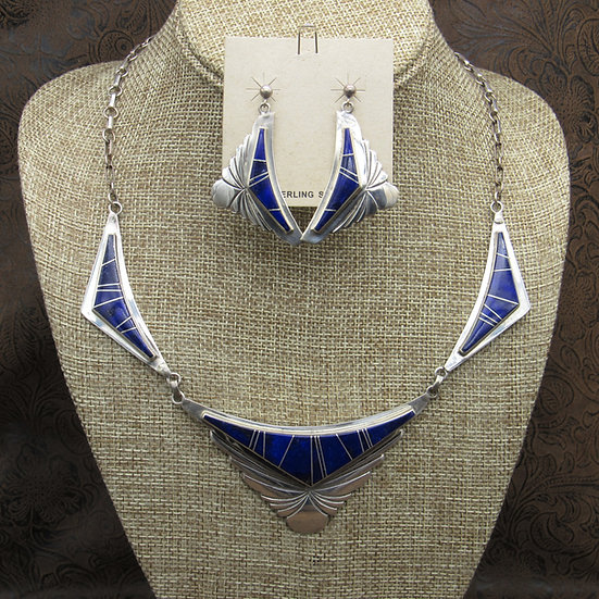 Navajo Sterling Silver Lapis Necklace And Earrings Set By Marie Tsosie