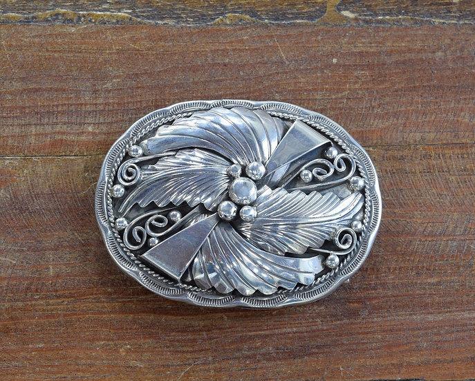 Ornate Sterling Silver Southwest Belt Buckle