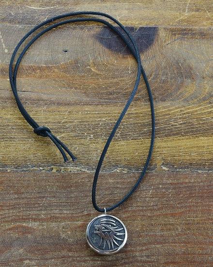 Southwestern Sterling Silver Overlay Badger Necklace