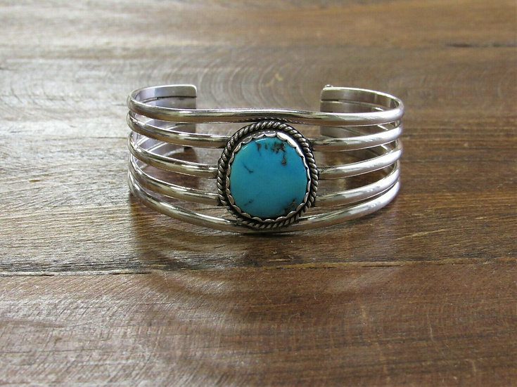 Vintage Navajo Turquoise Sterling Silver Cuff Bracelet by Ramone Platero