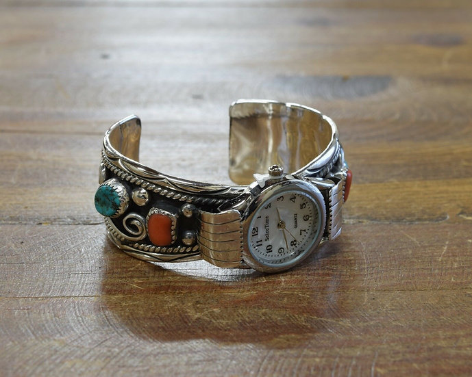 Vintage Sterling Silver Coral and Turquoise Watch Cuff
