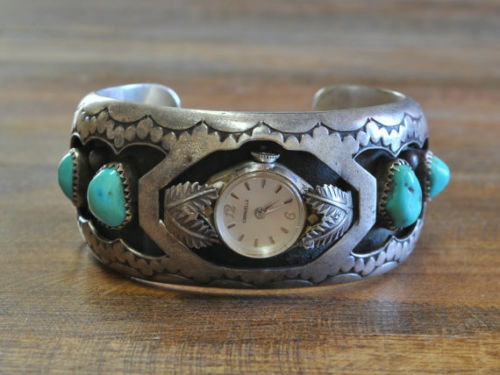 Vintage Navajo Sterling Silver And Turquoise Shadowbox Watch Cuff Bracelet