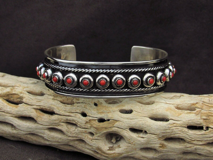 Coral Sterling Silver Cuff Bracelet By H. Tahe