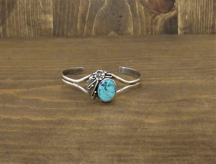 Vintage Navajo Turquoise Sterling Silver Cuff Bracelet by Peterson Johnson