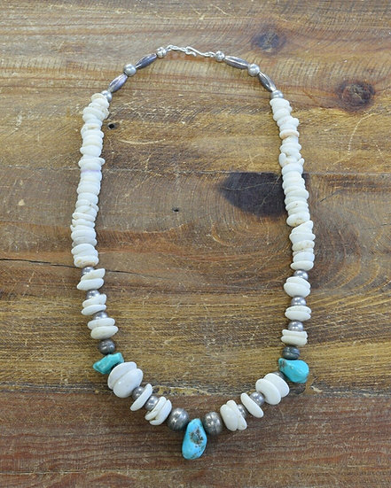 Vintage Turquoise and Puka Shell Beaded Necklace