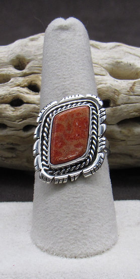 Apple Coral and Sterling Silver Ring Size 8 1/4