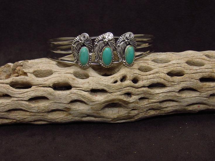Southwestern Sterling Silver Green Turquoise Cuff Bracelet