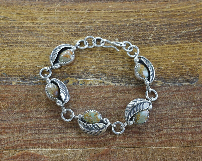 Navajo Sterling Silver and Green Turquoise Link Bracelet