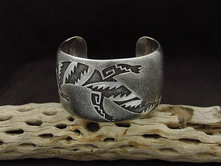 Sterling Silver Lizard Wide Cuff Bracelet