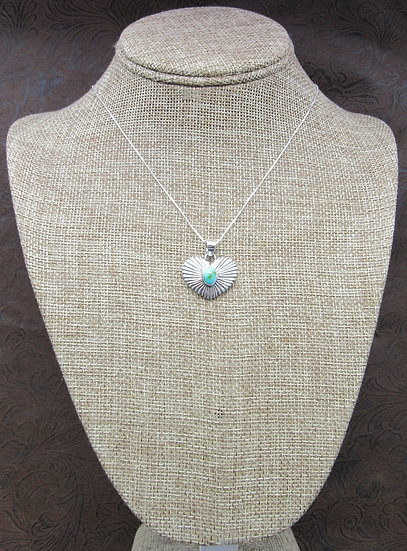 Southwestern Sterling Silver and Green Turquoise Heart Necklace
