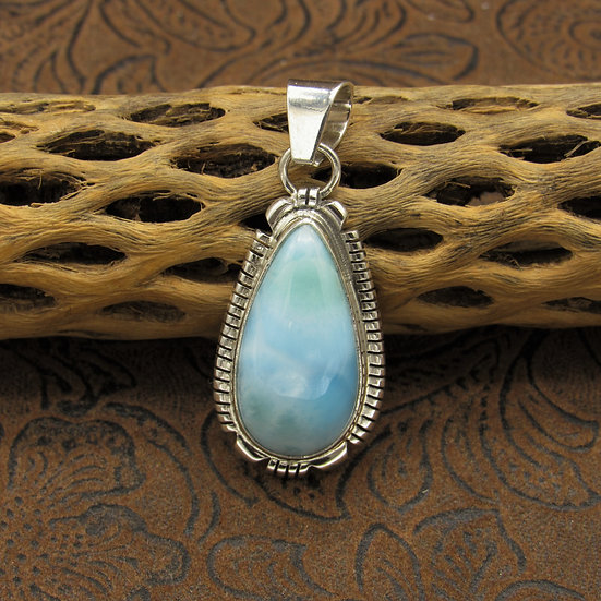 Larimar Sterling Silver Pendant By L. Yazzie