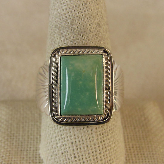 Sterling Silver and Green Turquoise Ring by Danny Kenneth  Size 10.5