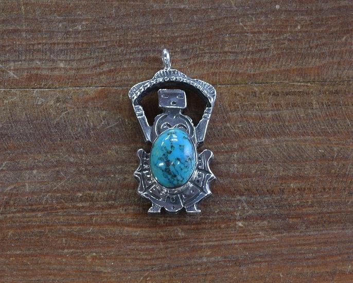 Vintage Kachina Style Turquoise Pendant
