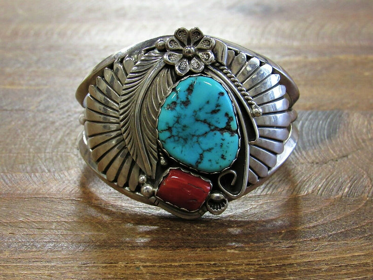 Vintage Turquoise and Coral Sterling Silver Cuff Bracelet