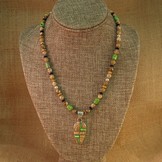 Navajo Jasper and Gaspeite Beaded Inlay Necklace