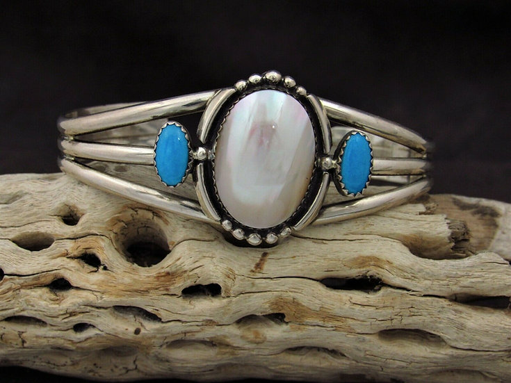 Sterling Silver Mother of Pearl and Turquoise Cuff Bracelet