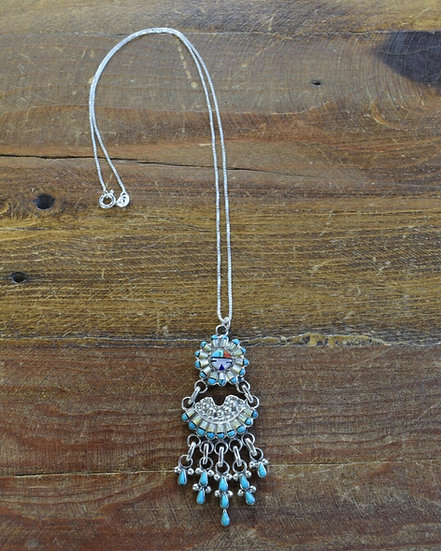 Sterling Silver Multi Stone Sunface Inlay Chandelier Necklace