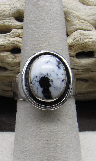 White Buffalo and Sterling Silver Ring Size 8