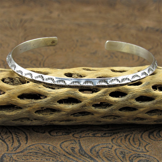 Simple Stamped Design Sterling Silver Cuff Bracelet