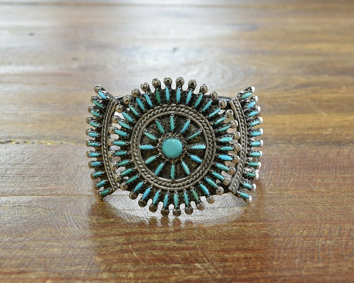 Vintage Zuni Sterling Silver and Turquoise Needlepoint Cuff Bracelet