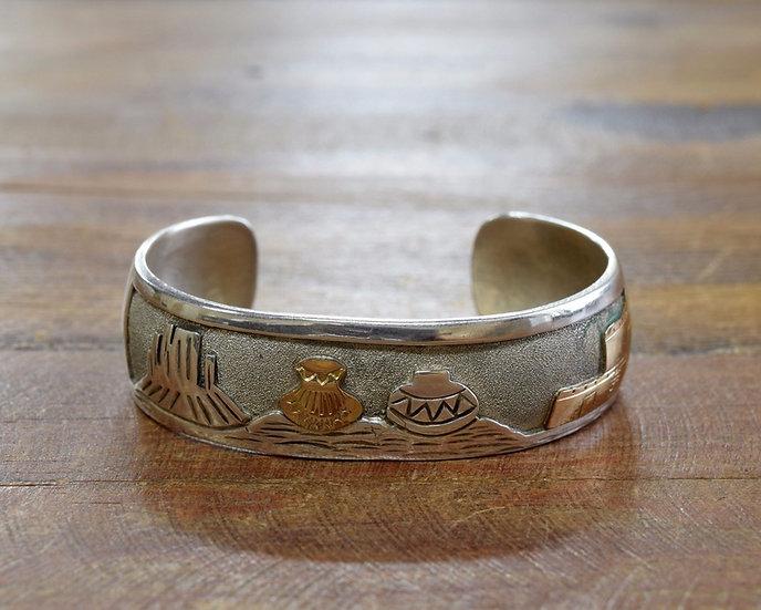 Vintage Southwest Two Tone Storyteller Cuff Bracelet