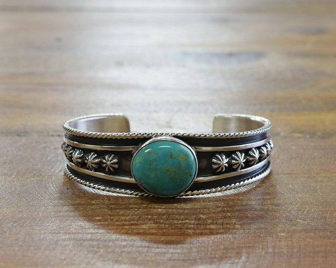 Southwestern Green Turquoise Sterling Silver Cuff Bracelet