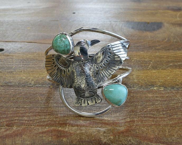Vintage Sterling Silver and Turquoise Eagle Bracelet