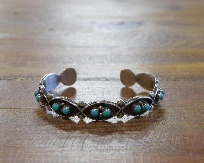 Vintage Sterling Silver and Turquoise Snake Eye Cuff Bracelet