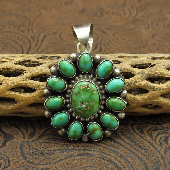 Sonoran Turquoise Sterling Silver Pendant by Kathleen Chavez