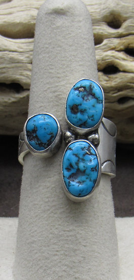 Unique Sterling Silver and Turquoise Ring Size 8 1/4