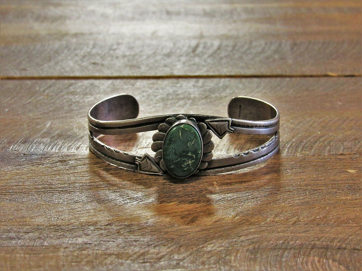 Vintage Green Turquoise Stamped Sterling Silver Cuff Bracelet