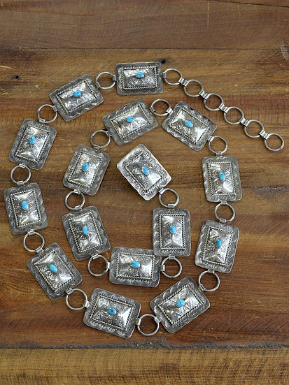 Vintage Navajo Sterling Silver And Turquoise Concho Belt