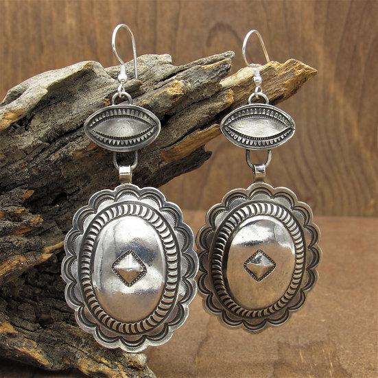 Large Southwest Sterling Silver Concho Dangle Wire Earrings