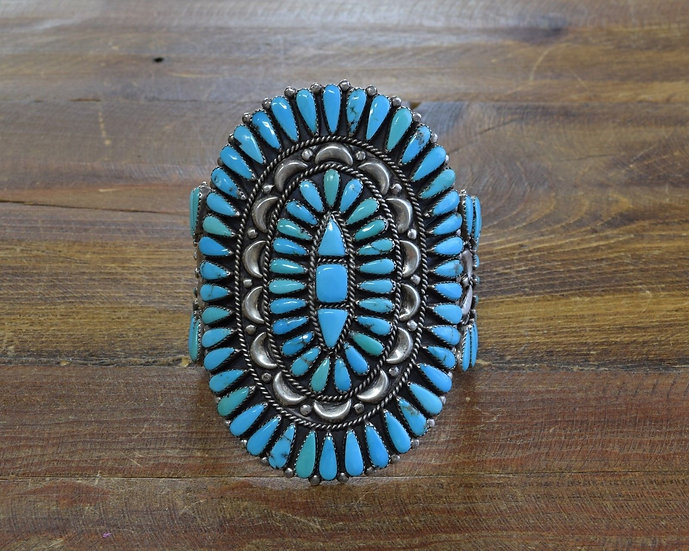 Huge Vintage Zuni Sterling Silver and Turquoise Petit Point Bracelet by E. Wayco